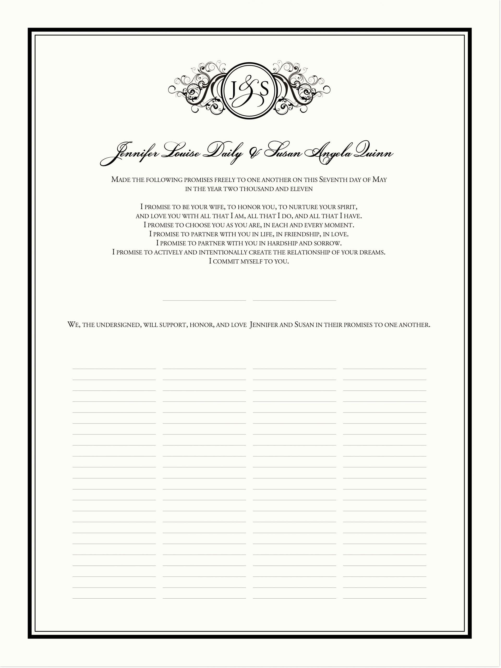 Gay Marriage Certificate Template Elegant Wedding Certificate Curly Sue Vintage Monogram