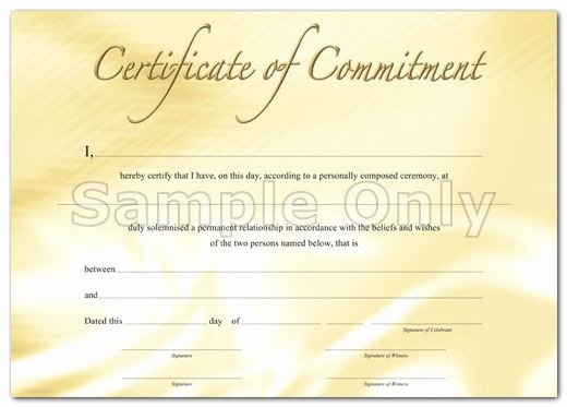 Gay Marriage Certificate Template Inspirational Mitment Ceremony Certificate Free Print