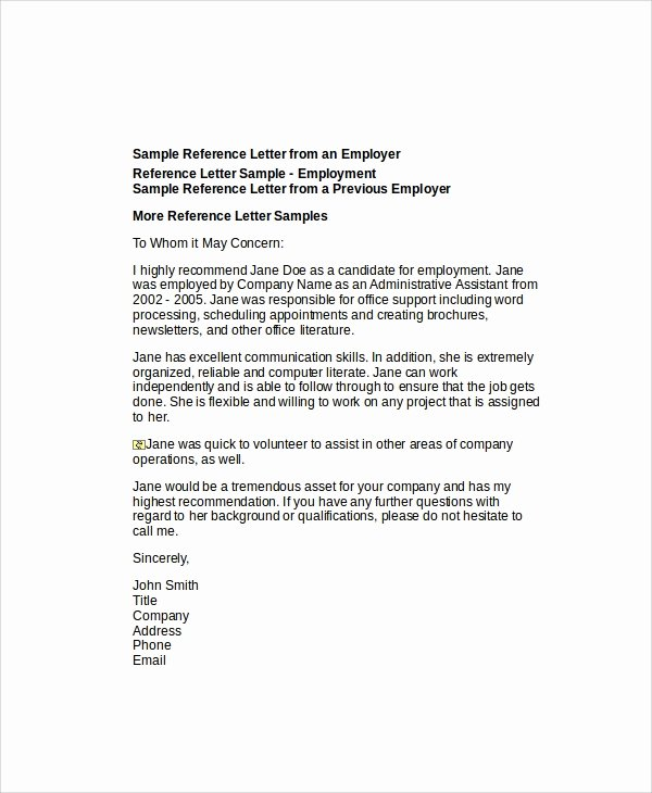 Generic Reference Letter Sample Awesome 6 Sample Employee Re Mendation Letter Free Sample