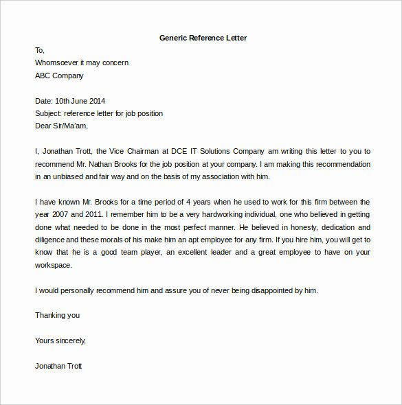 Generic Reference Letter Sample Best Of Generic Reference Letter