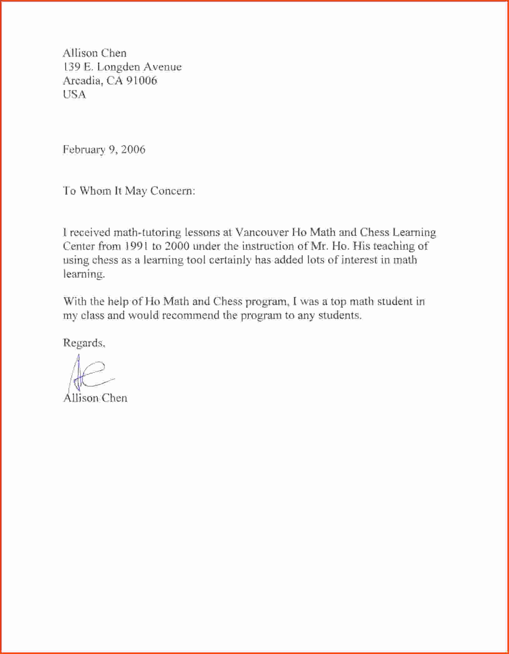 Generic Reference Letter Sample Luxury 11 Sample Of Reference Letter for Student
