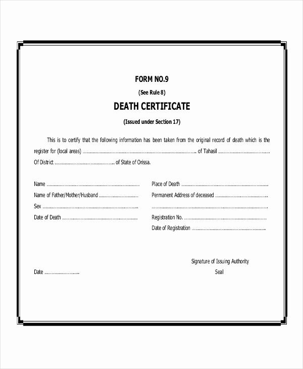 Georgia Death Certificate Template Beautiful Free 48 Certificate Examples In Pdf