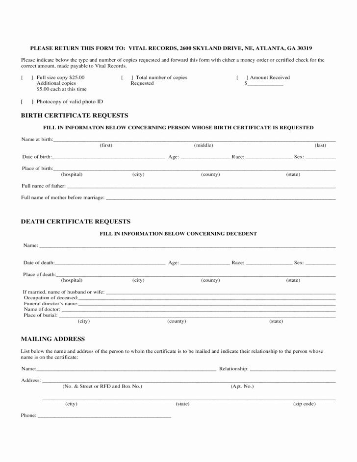 Georgia Death Certificate Template Best Of Birth Certificate Request form Georgia Free Download