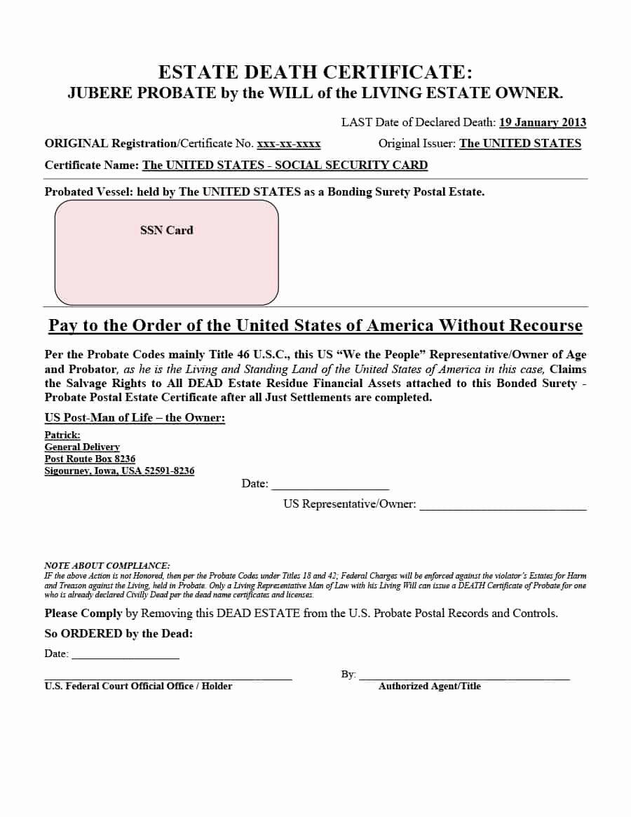 Georgia Death Certificate Template New 37 Blank Death Certificate Templates [ Free]