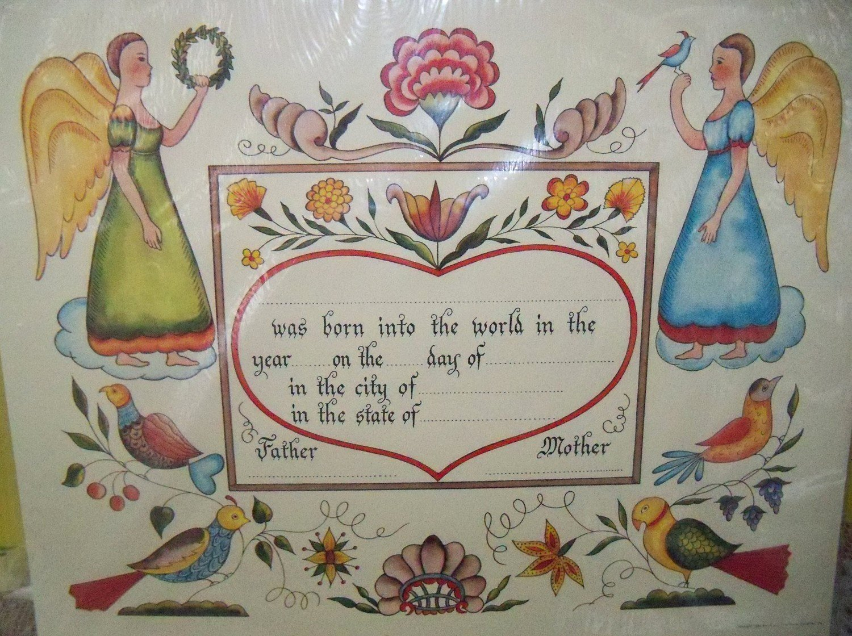 German Birth Certificate Template Inspirational Vintage Blank Birth Certificate Folk Art Fraktur Sealed In
