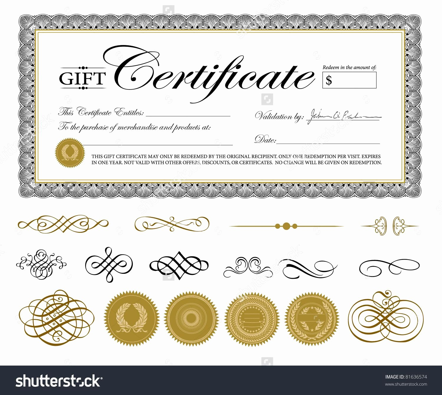 Gftlz Gift Certificate Template Download Elegant Vector Premium Certificate Template and ornaments Easy to