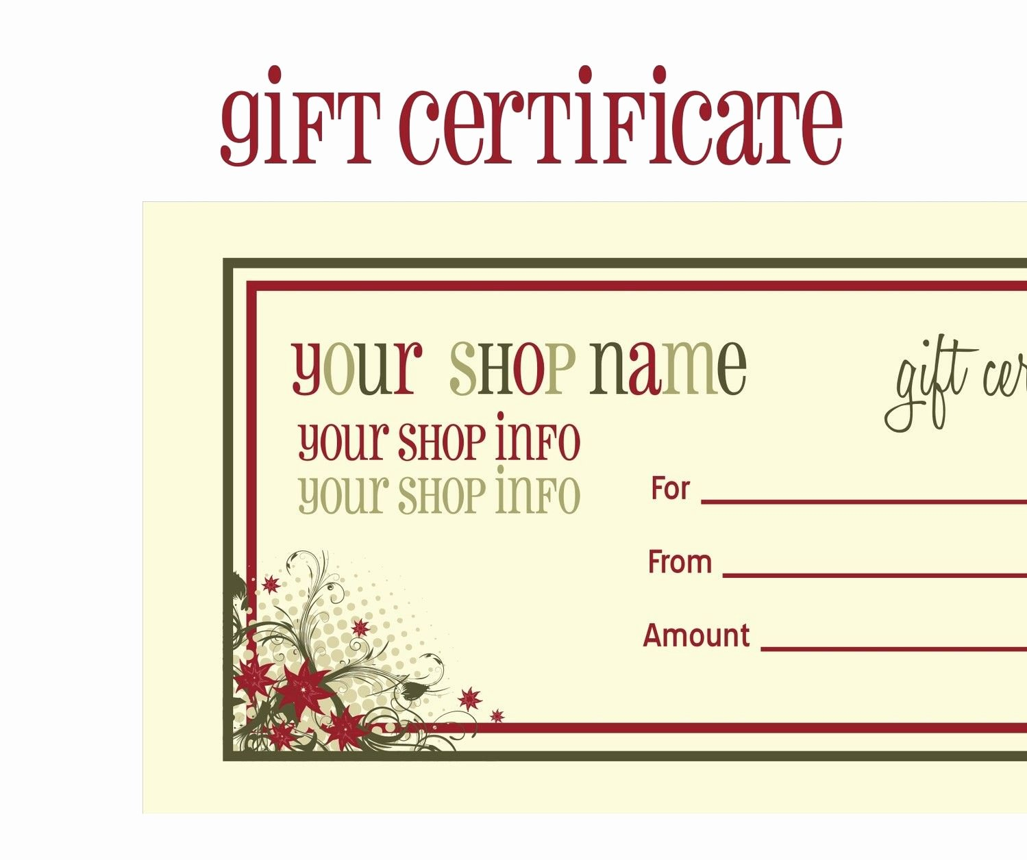 Gftlz Gift Certificate Template Unique Certificates Printable Calendars Free Printable Avon T