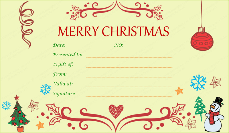 Gift Certificate Template Christmas Beautiful Festive Decorating Christmas Gift Certificate Template