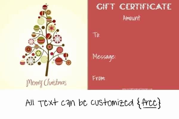 Gift Certificate Template Christmas Beautiful Free Editable Christmas Gift Certificate Template