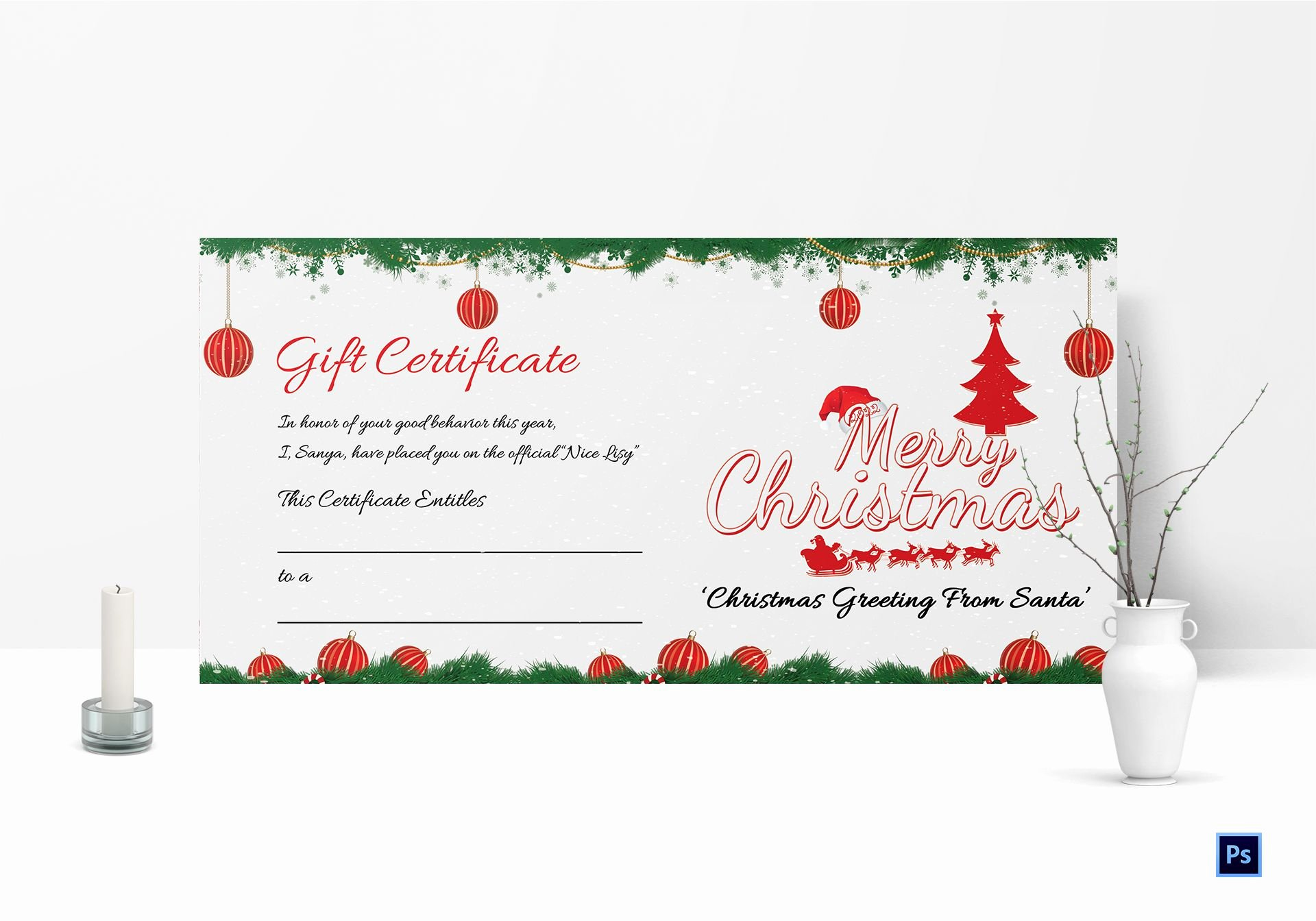 Gift Certificate Template Christmas Unique Christmas Certificate Template