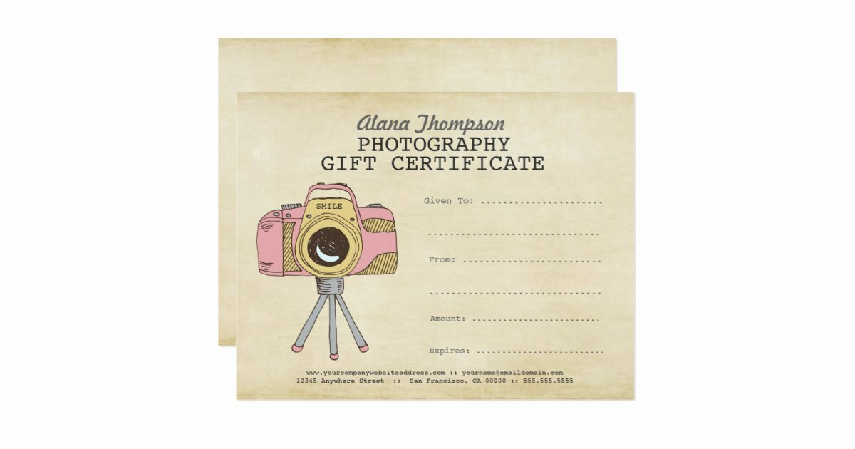 Gift Certificate Template Photography Unique Grapher Graphy Gift Certificate Template Card