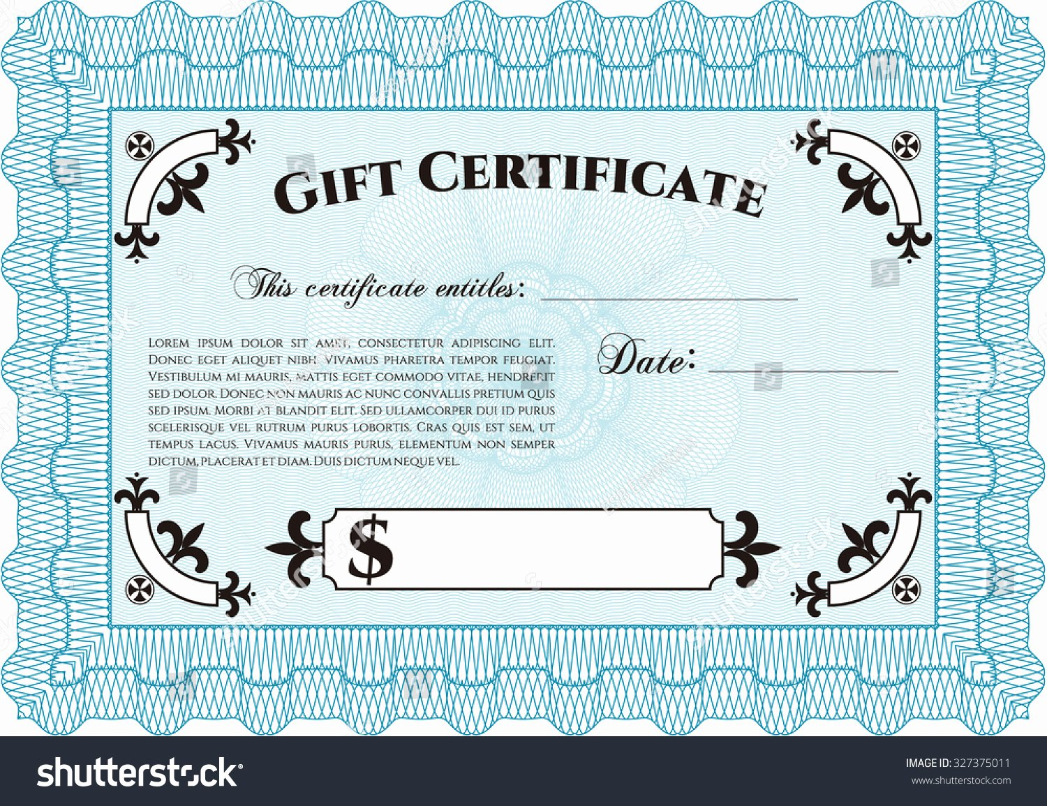 Gift Certificate Template Vector Awesome formal Gift Certificate Template Customizable Easy Stock