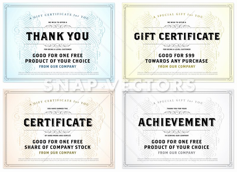 Gift Certificate Template Vector Beautiful Vector Vintage Gift Certificate Template Set Snap Vectors