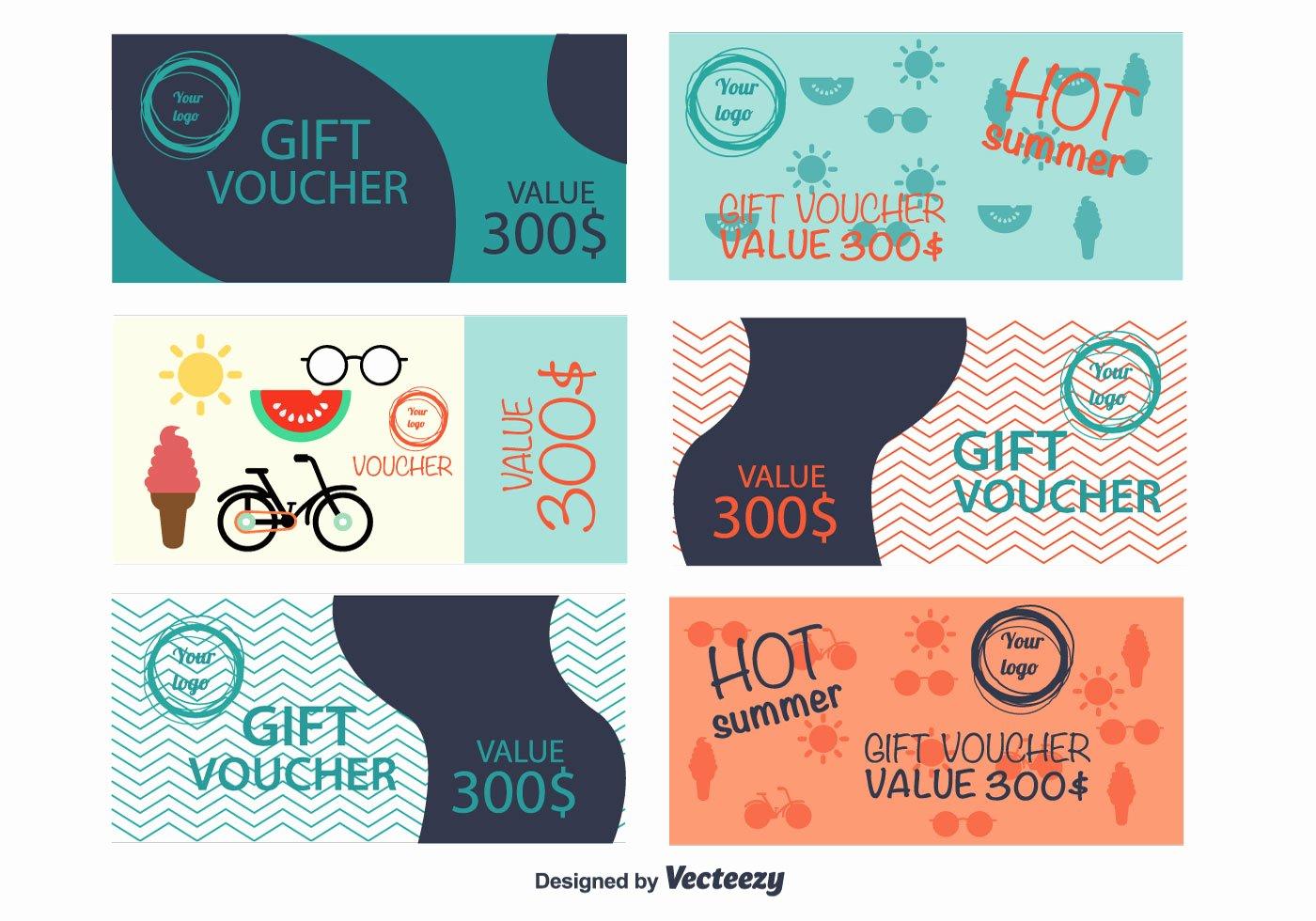 Gift Certificate Template Vector Elegant Summer Gift Vouchers Download Free Vectors Clipart