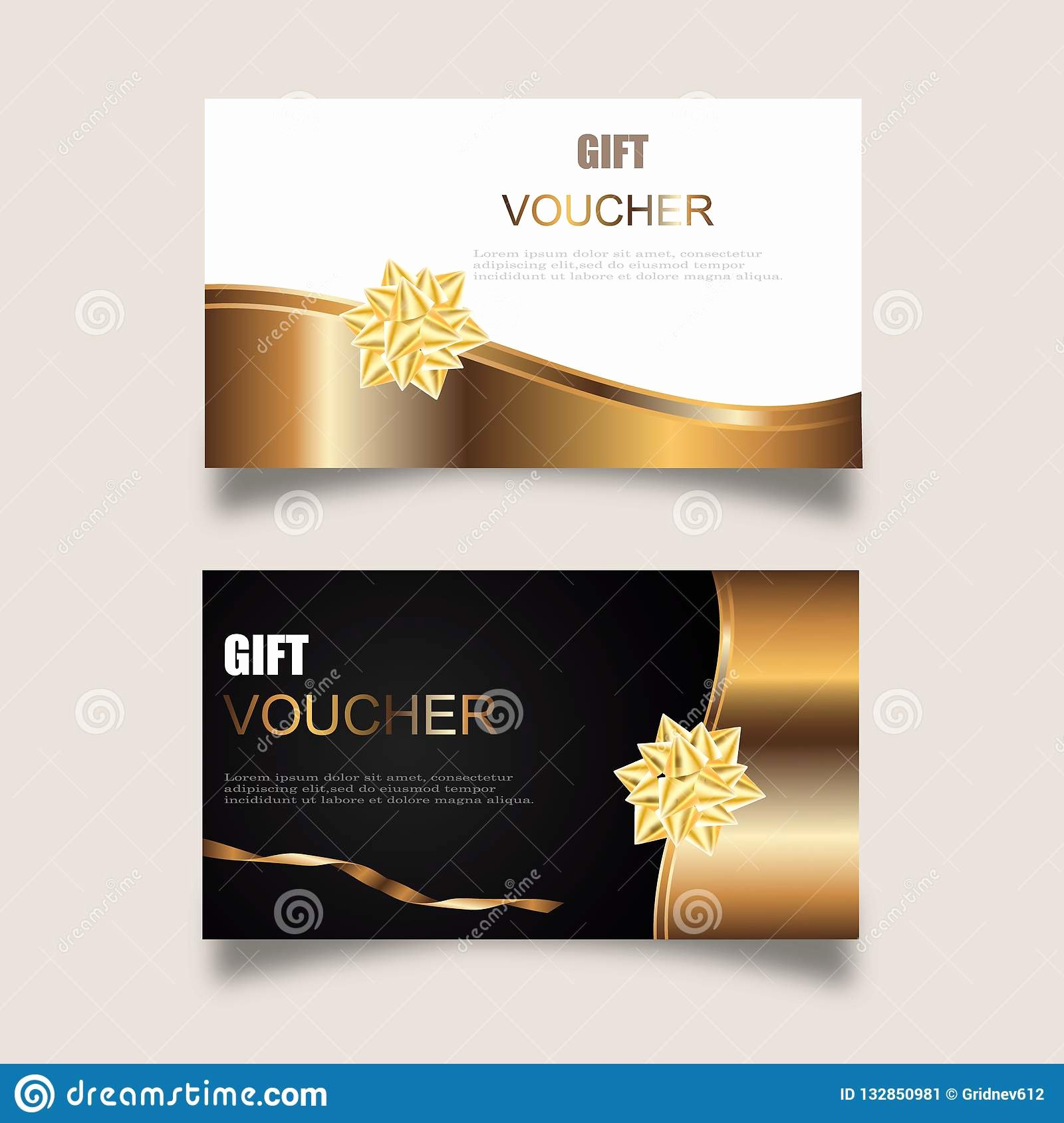 Gift Certificate Template Vector Elegant Vector Set Luxury Gift Vouchers with Ribbons and Gift