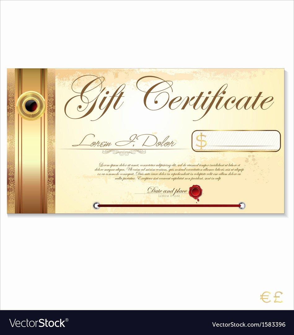 Gift Certificate Template Vector Unique Luxury T Certificate Template Royalty Free Vector Image