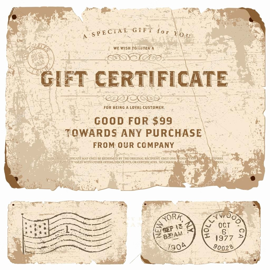 Gift Certificate Template Vector Unique Vector Vintage Gift Certificate Template — Stock Vector
