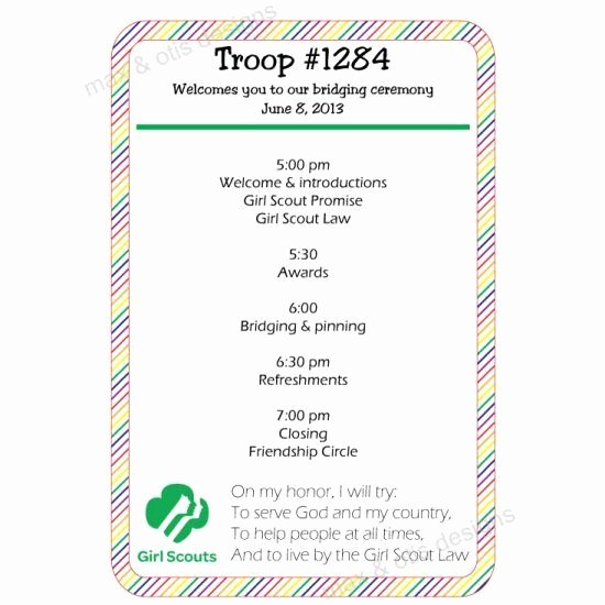 Girl Scout Bridging Certificate Template Beautiful Girl Scout Bridging Program Rainbow Fillable Pdf Girl