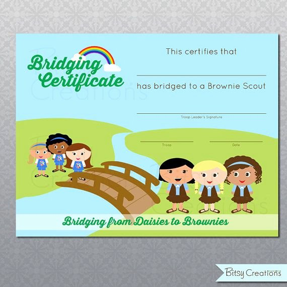 Girl Scout Bridging Certificate Template Best Of Printable Bridging Certificate Girl Scouts Digital File