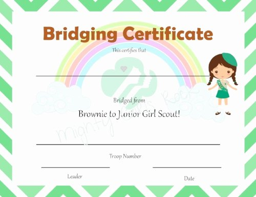 Girl Scout Bridging Certificate Template Elegant Global Action Award 2016 and Free Interview Printable