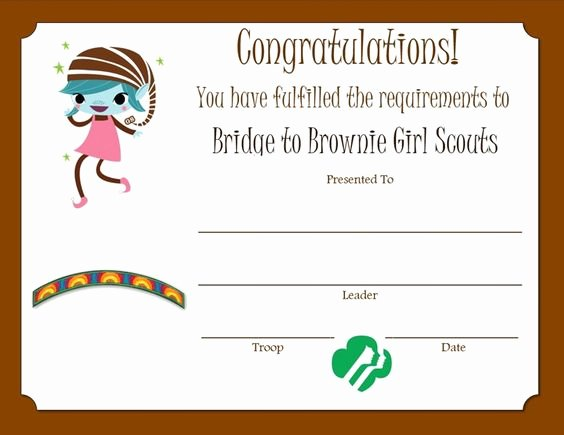 Girl Scout Bridging Certificate Template Fresh Bridge to Brownie Girl Scouts Certificate Revised