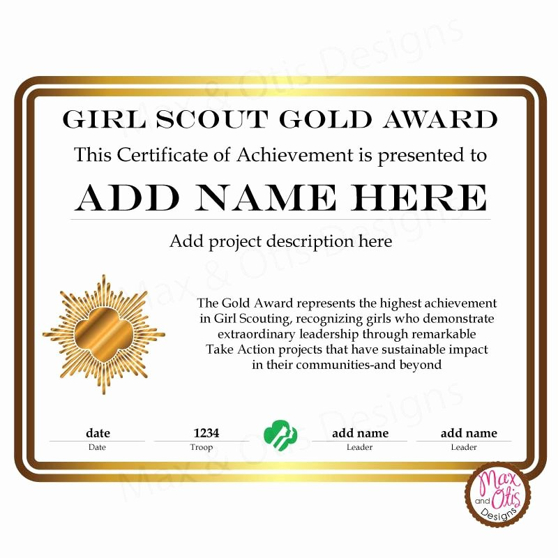 Girl Scout Bridging Certificate Template Fresh Girl Scout Cadette Printable Gold Award Certificate