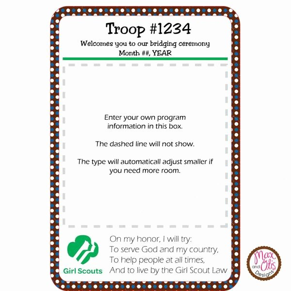 Girl Scout Bridging Certificate Template New Girl Scout Brownie Bridging Program Editable Pdf – Max