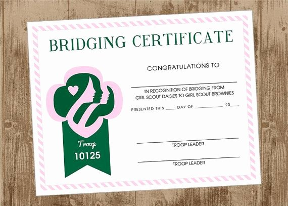 Girl Scout Bridging Certificate Template New Girl Scout Printable Bridging Certificate Pink and Green