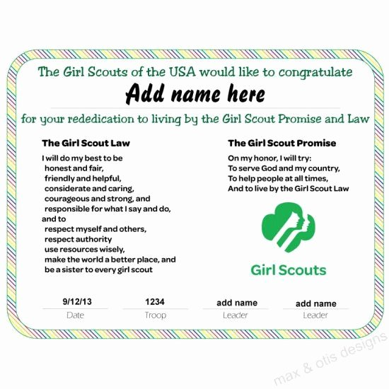 Girl Scout Certificate Template Beautiful Girl Scout Rededication Certificate with Rainbow Border