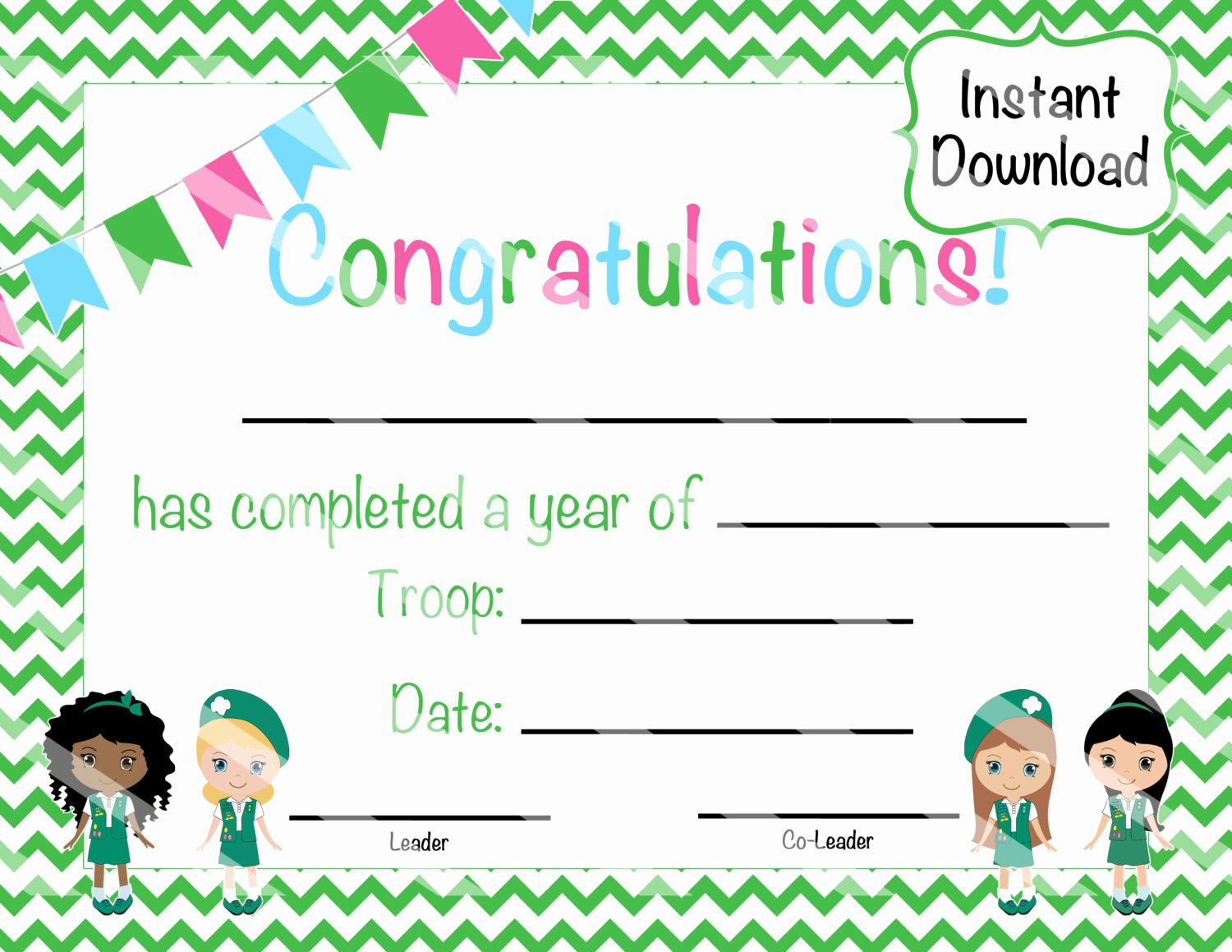 Girl Scout Certificate Template Elegant Girl Scout Junior Certificate Of Pletion by