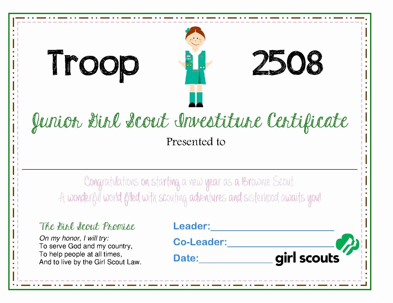 Girl Scout Certificate Template Elegant Junior Investiture Certificate Scout Shtuff