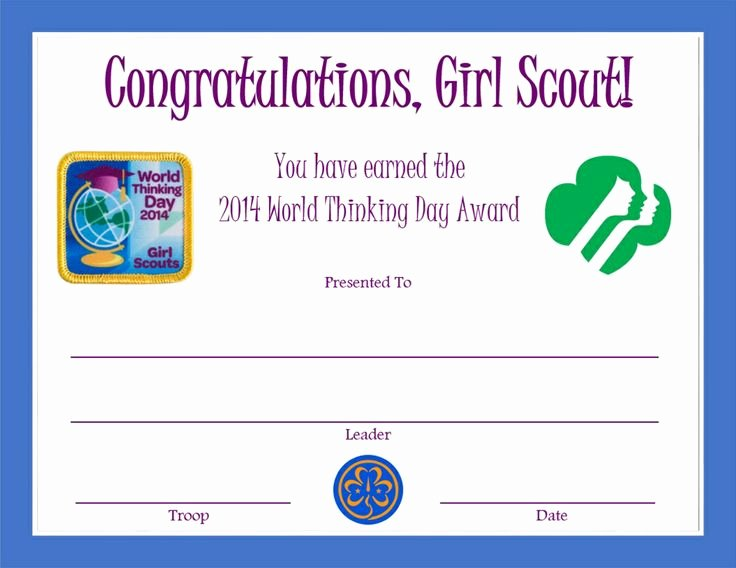 Girl Scout Certificate Template Inspirational 2014 World Thinking Day Award Certificate