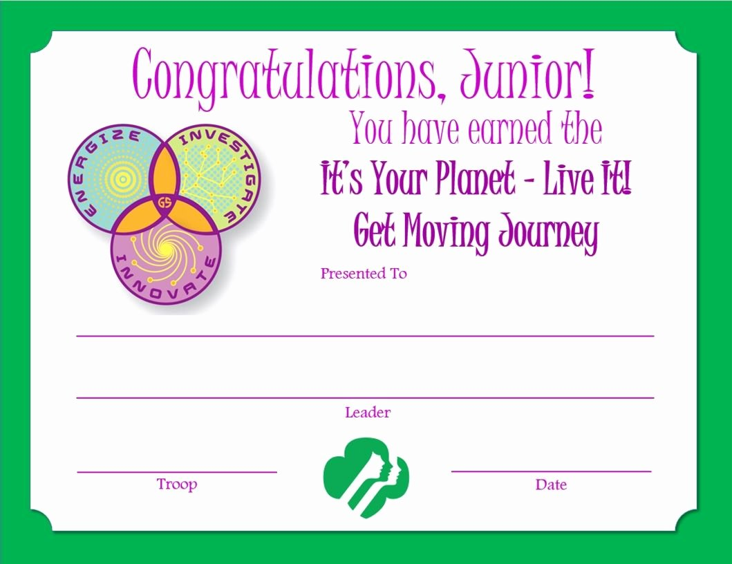 Girl Scout Certificate Template Luxury Girl Scout Certificate Templates