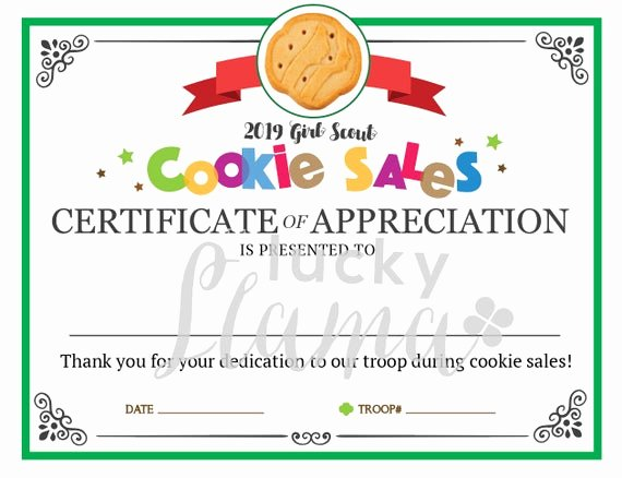 Girl Scout Certificate Template Unique Girl Scout Cookie Mom Printable Certificate Editable