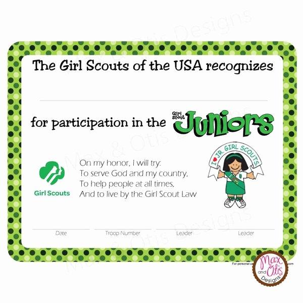 Girl Scout Certificate Template Unique Girl Scout Junior Printable Participation Certificate