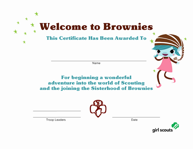 Girl Scout Certificate Template Unique Girl Scout Printables Wel E to Brownies Certificate