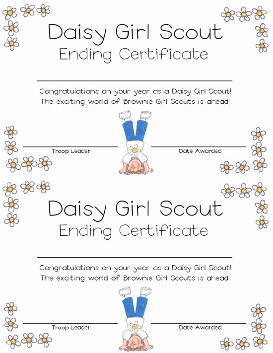 Girl Scout Daisy Certificate Template Beautiful Daisy Girl Scout Ending Certificate