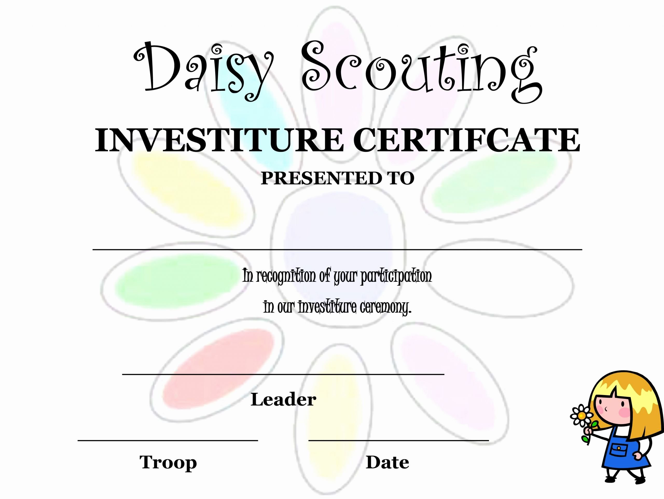 Girl Scout Daisy Certificate Template Elegant Daisy Investiture Ceremony Invitation Invitation