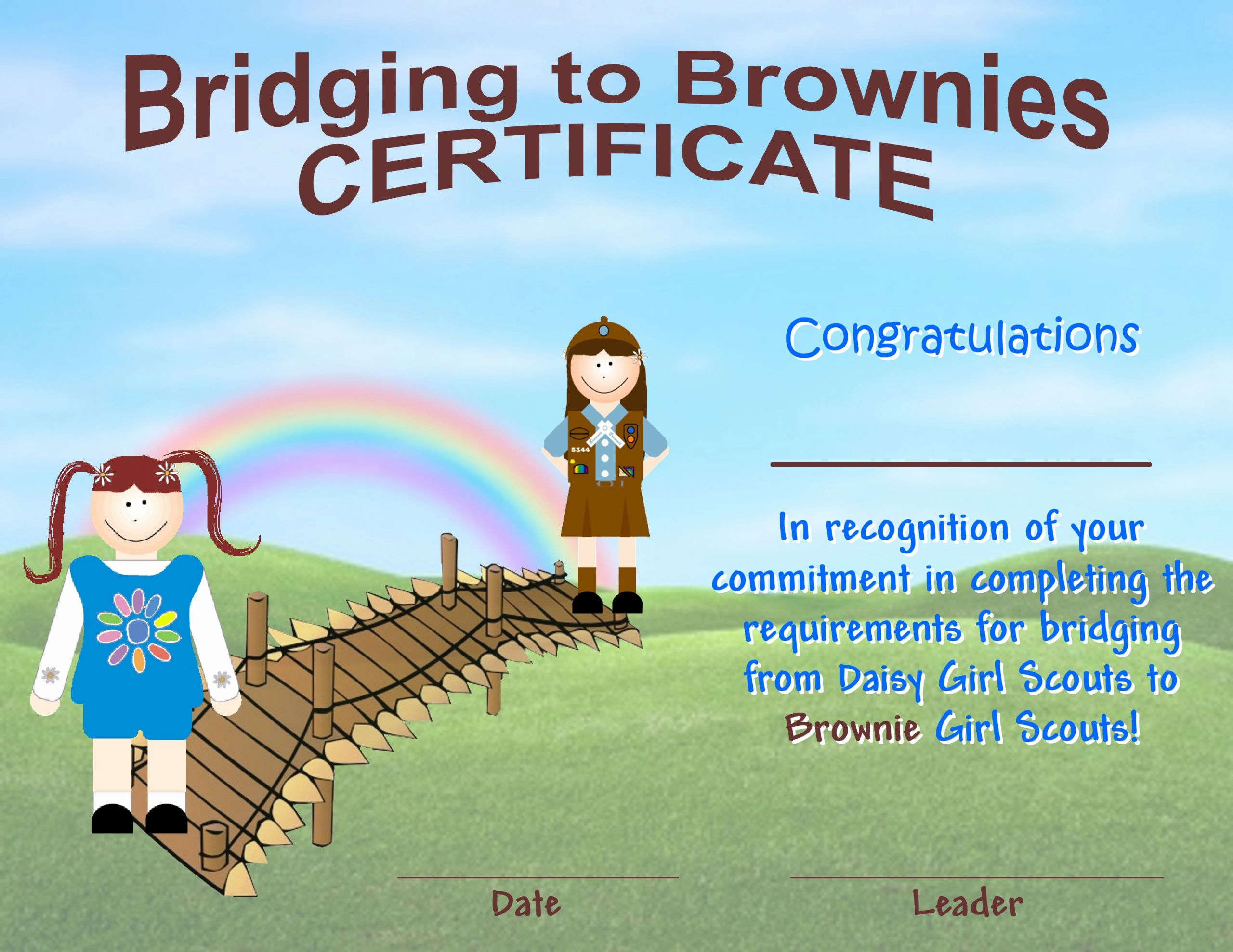Girl Scout Daisy Certificate Template Fresh Bridging to Brownies Certificate Girlscouts