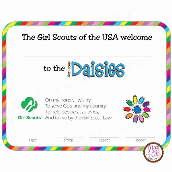 girl scout daisy printable bridging certificate editable pdf