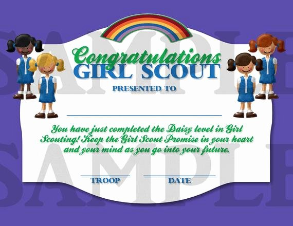 Girl Scout Daisy Certificate Template Fresh Girl Scouts Daisy Pletion Certificate by