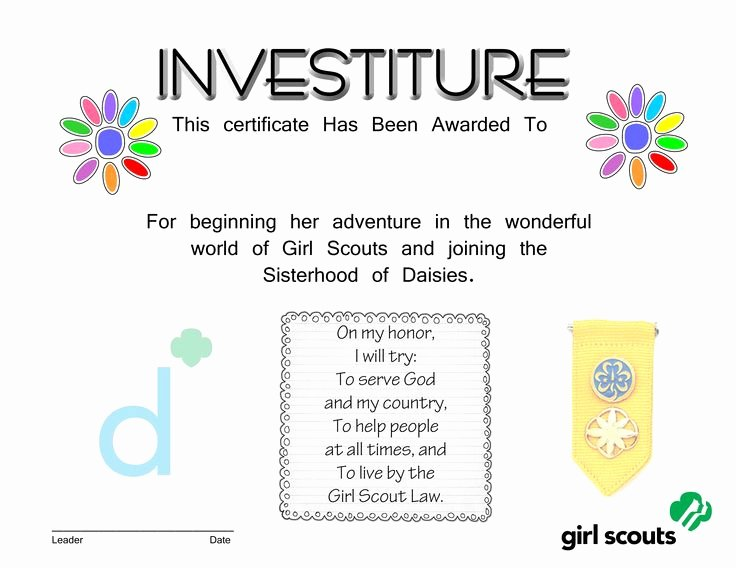 Girl Scout Daisy Certificate Template Inspirational Free Daisy Investiture Certificate Courtesy Of Sara Molnar