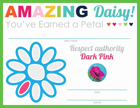 Girl Scout Daisy Certificate Template New Plete Set Of Girl Scout Daisy Petal & Leaf Certificates