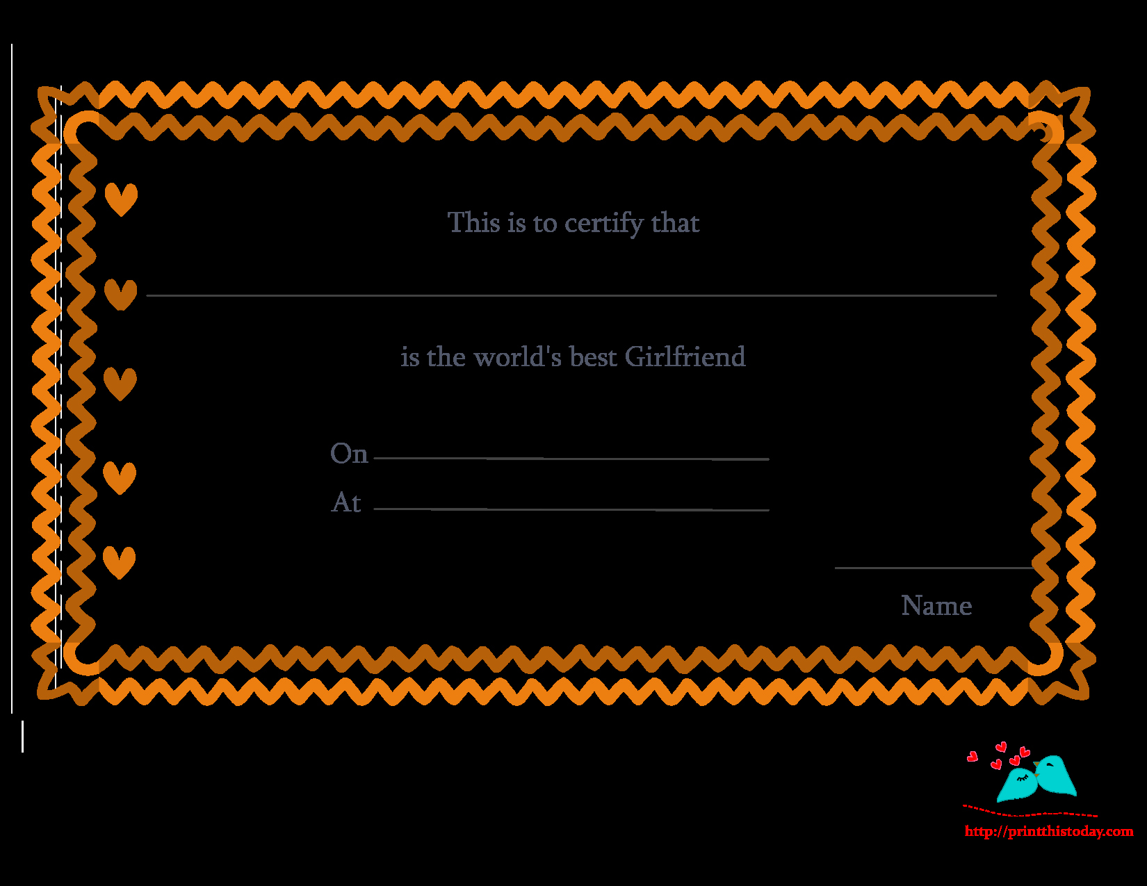 Girlfriend Of the Year Award Awesome Free Printable World S Best Girlfriend Certificates