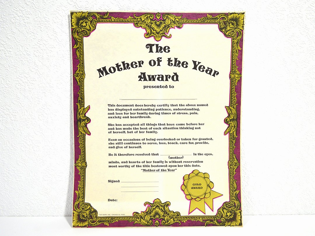 Girlfriend Of the Year Award Unique Mom the Year Award Certificate