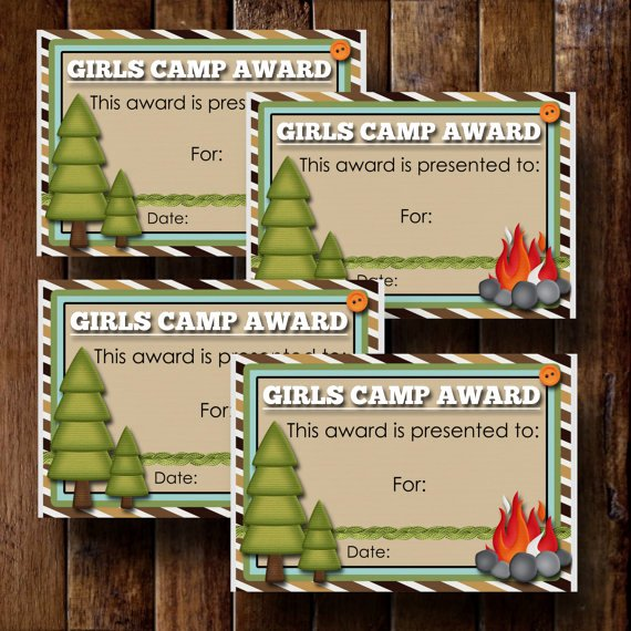 Girls Camp Award Ideas Lovely Girls Camp Awards Certificate 4 3 5x5 Cards by