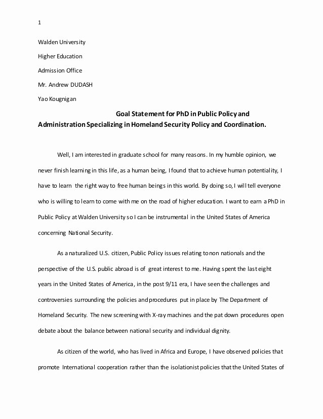 Goal Statement for College Unique Goal Statement for Phd In Public Policy and Administration
