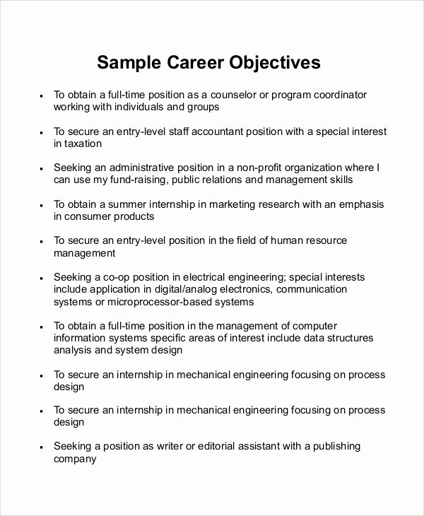 Goal Statement Sample Awesome Sample Career Objective Statement 7 Examples In Word Pdf