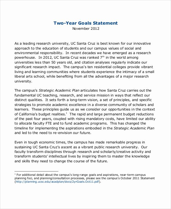 Goal Statement Sample Awesome Sample Goal Statement 9 Examples In Word Pdf