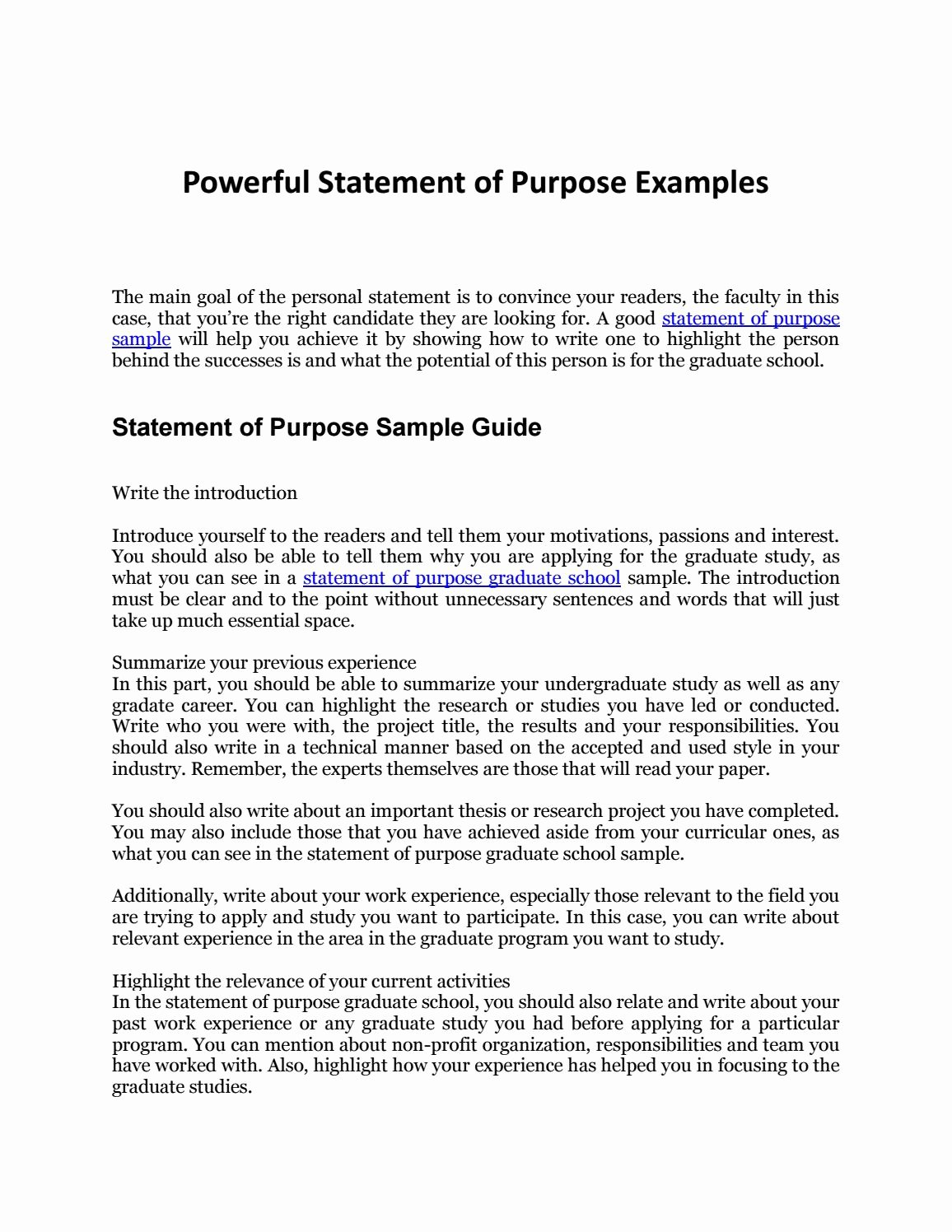 Goal Statement Sample Best Of Statement Of Purpose Sample Your Plete Guide to An